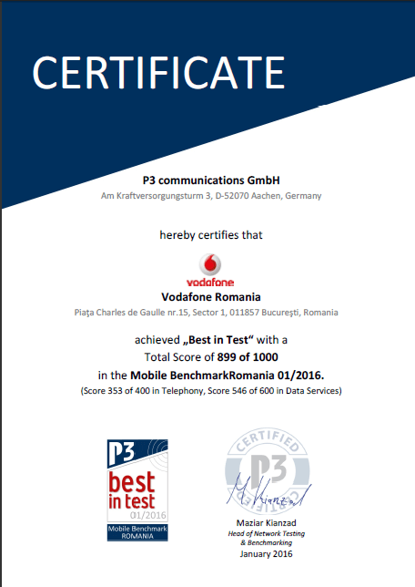 Certificat P3 Communications 2016